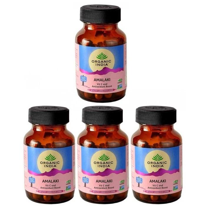 Organic India AMALAKI BIO (4 paquets de 60 gélules végétales) - Plante ayurvédique traditionnelle - 100% certifiées biologiques