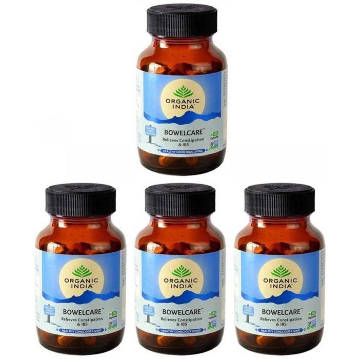 Organic India BOWEL CARE (4 paquets de 60 gélules végétales) - Plante ayurvédique traditionnelle - 100% certifiées biologiques