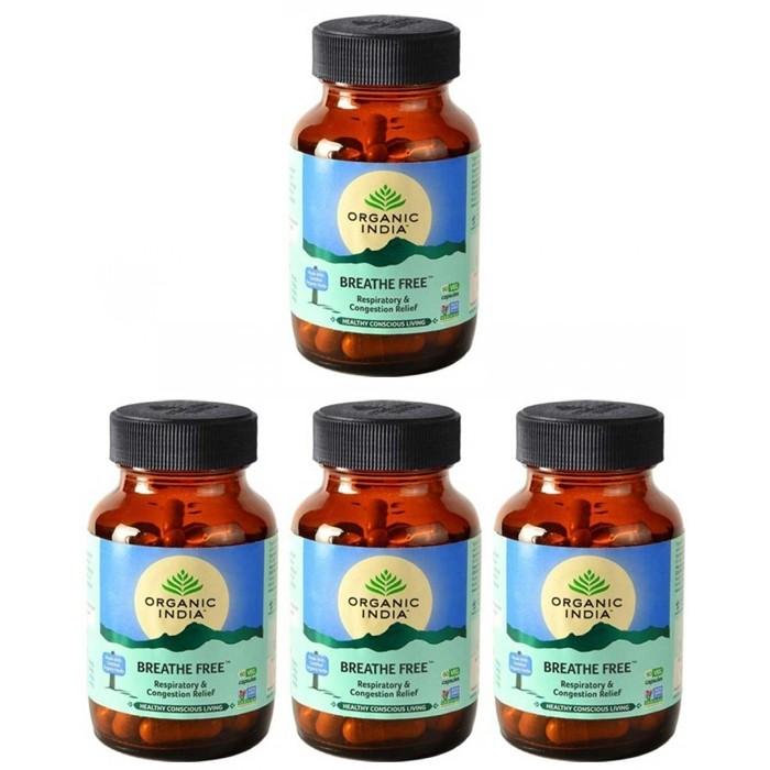 Organic India BREATH FREE (4 paquets de 60 gélules végétales) - Plante ayurvédique traditionnelle - 100% certifiées biologiques