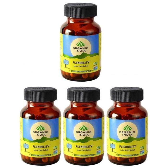 Organic India FLEXIBILITY (4 paquets de 60 gélules végétales) - Plante ayurvédique traditionnelle - 100% certifiées biologiques