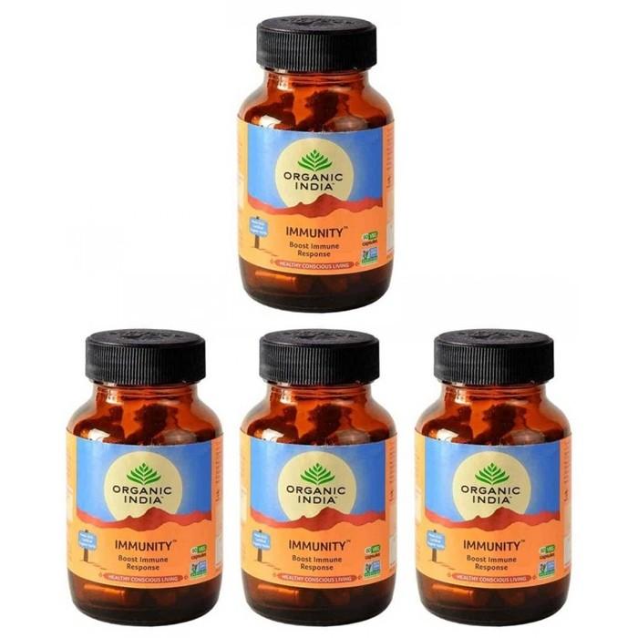 Organic India IMMUNITY (4 paquets de 60 gélules végétales) - Plante ayurvédique traditionnelle - 100% certifiées biologiques