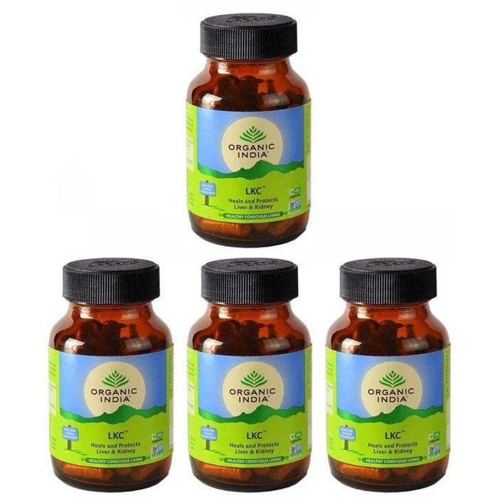 Organic India LIVER KIDNEY CARE (4 paquets de 60 gélules végétales) - Plante ayurvédique traditionnelle - 100% certifiées biologiques