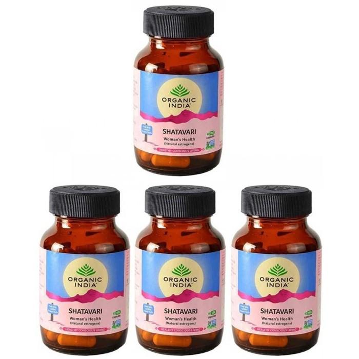 Organic India SHATAVARI BIO (4 paquets de 60 gélules végétales) - Plante ayurvédique traditionnelle - 100% certifiées biologiques