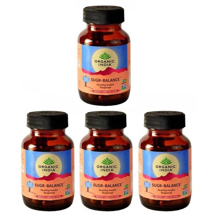 Organic India SUGAR BALANCE (4 paquets de 60 gélules végétales) - Plante ayurvédique traditionnelle - 100% certifiées biologiques