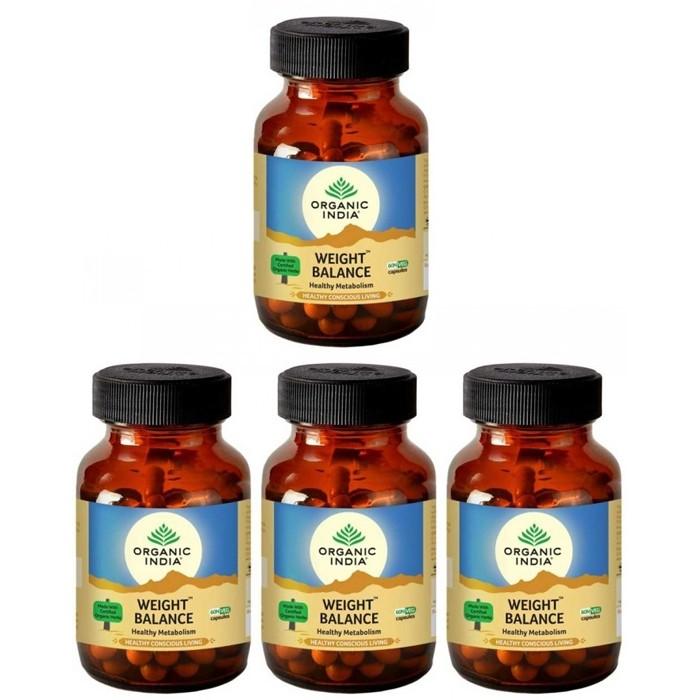 Organic India WEIGHT BALANCE (4 paquets de 60 gélules végétales) - Plante ayurvédique traditionnelle - 100% certifiées biologiques