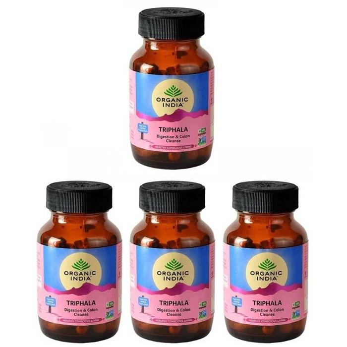 Organic India TRIPHALA BIO (4 paquets de 60 gélules végétales) - Plante ayurvédique traditionnelle - 100% certifiées biologiques