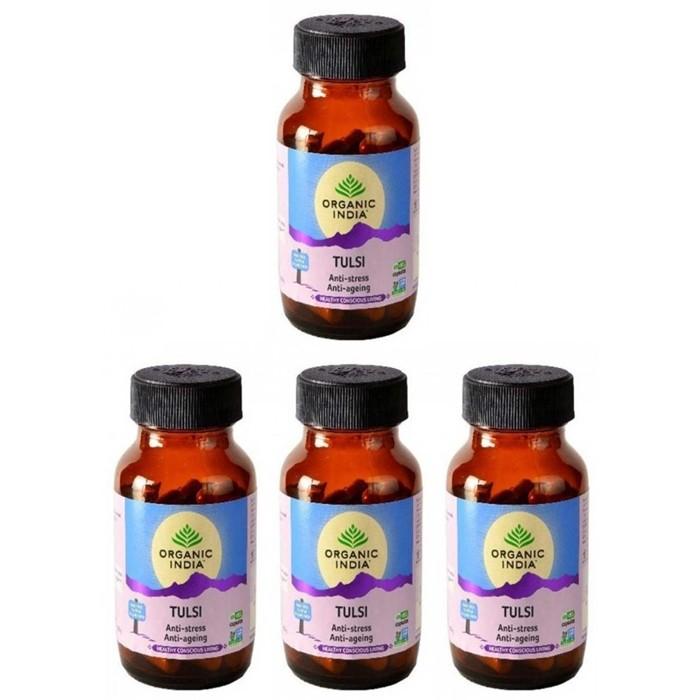 Organic India-TULSI BIO (4 paquets de 60 gélules végétales) - Plante ayurvédique traditionnelle - 100% certifiées biologiques
